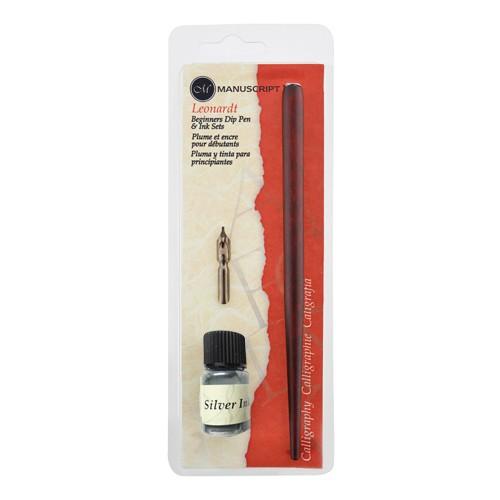 Dip Pen Holder Nib & Silver Ink